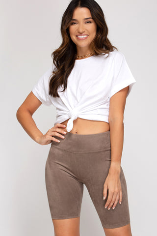 Faux Suede Biker Shorts in Mocha