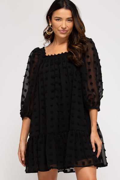 Baby Doll Style Dress with 3D Dot Pattern in Black