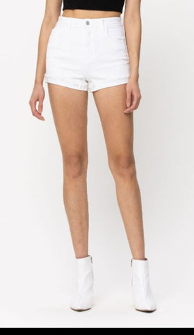 HIGH RISE SHORT WITH FRONT YOKE IN WHITE