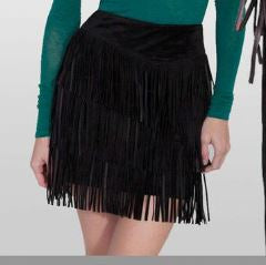 Suede Fringe Skirt in Black