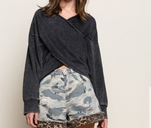 Overlay Wrap Front Terry Top in Black Stone Plus Size