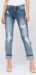 Distressed Bleach Splatter Boyfriend  (REG)
