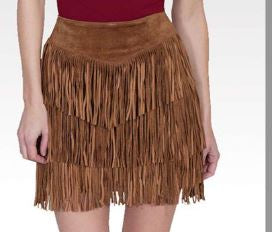 Suede Fringe Skirt in Caramel Brown