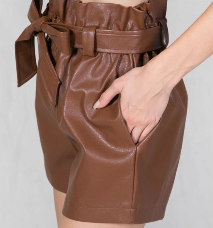Leather look Tie Waist Short in Camel