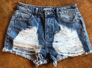 Distressed Cut Offs in Medium Wash