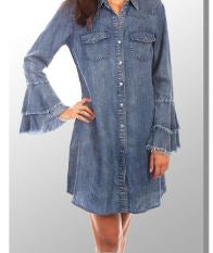 Scully Denim Dress with Flare Sleeve