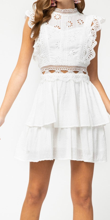 Off White Eyelet Fit and Flare Dress