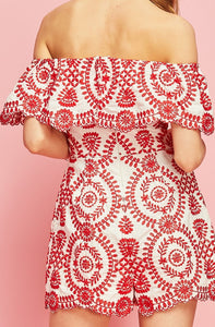 Red and White Off Shoulder Embroidered Romper