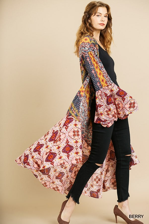 Scarf Print Bell Sleeve Open Front Long Kimono with High Low Hem