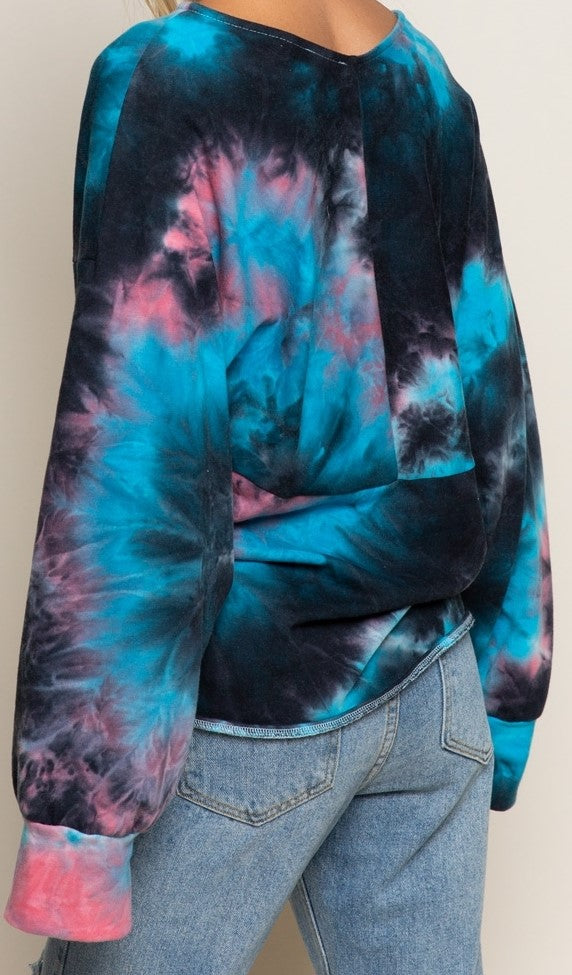 Galaxy Print Cross Front Sweat Shirt