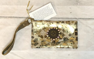 Wristlet Clutch in  Gold Tone Cheetah Pony Hide