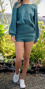 Sweater and Short Set in Jade Green