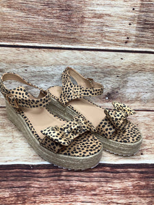 Platform Cheetah Sandals With Clasp