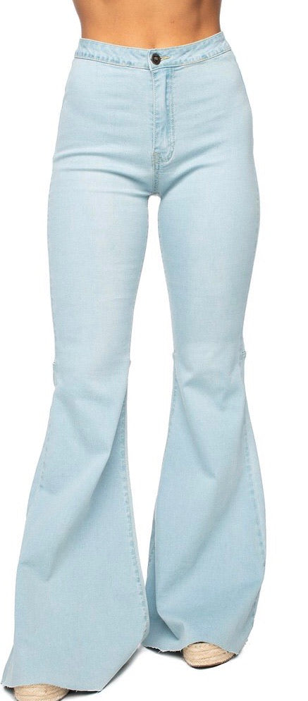 Light Blue High-Waisted Flared Jeans