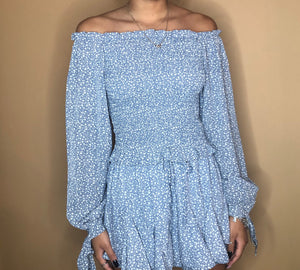 Long Sleeve Smocked Top in Misty Blue