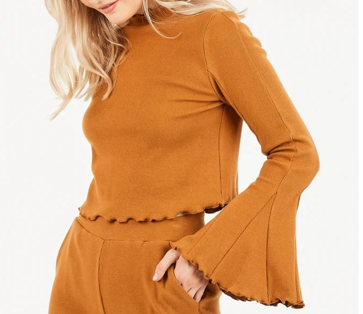 Ribbed Knit Cropped Bell Sleeve in Mustard