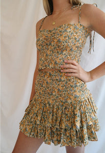 Floral Mini Skirt in Mustard