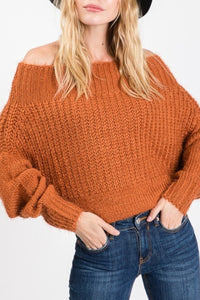 Long Sleeve Sweater in Rust