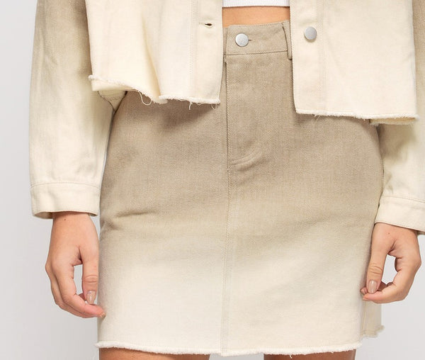 Dip Dyed Ombre Mini Skirt in Taupe