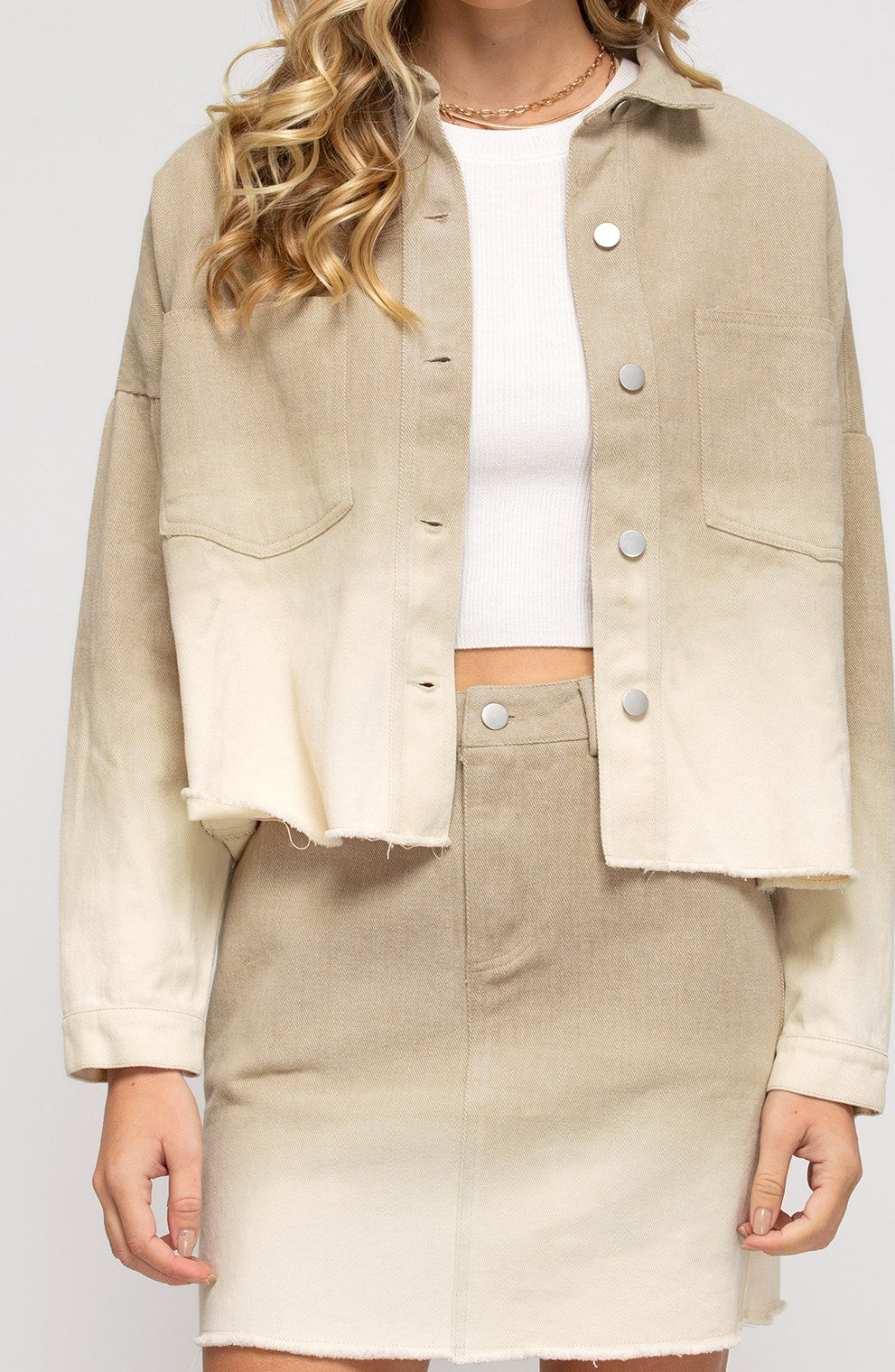 Dip Dyed Ombre Jacket in Taupe