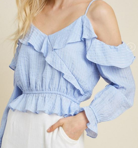 Cold Shoulder Ruffle Crop Top