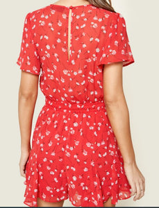 Red Floral Drawstring Romper