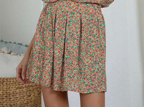 Ireland Green Floral Print Skirt