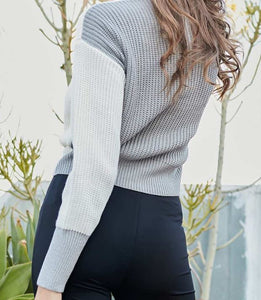 Color Block Sweater with Knotted Front