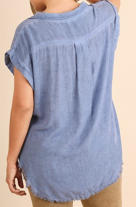Washed Denim Button Up Short Sleeve Top with Frayed Hemline