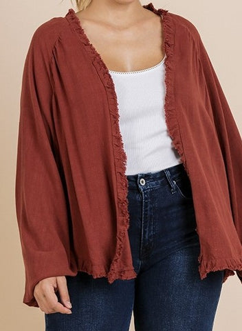 Long Puff Sleeve Open Front Kimono with Ruffle Scoop Hem
