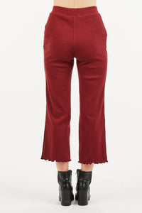 Cropped Coulotte Pant in Wine