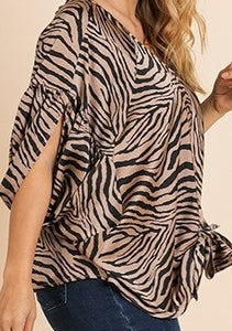 Animal Print Split Sleeve V-Neck Top with Waist Tie
