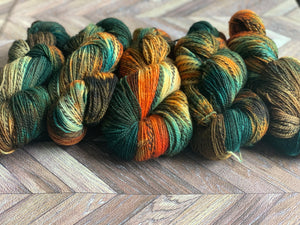 Wool U Knit Fingering- Burnt Orange & Greens