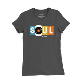 SOUL MUSIC •  WOMEN'S BLACK TEE SHIRT