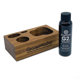 GROOVEWASHER WALNUT DISPLAY BLOCK + 2 OZ. G2 FLUID BOTTLE