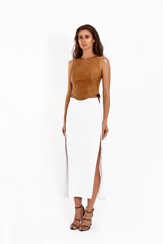 Crepe Straight Split Skirt