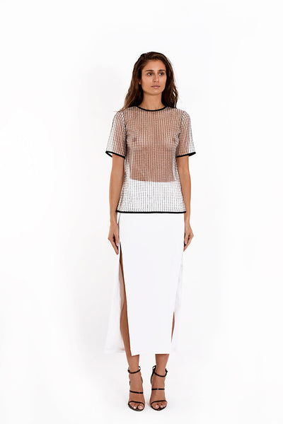 French Metal Mesh Oversized Tee