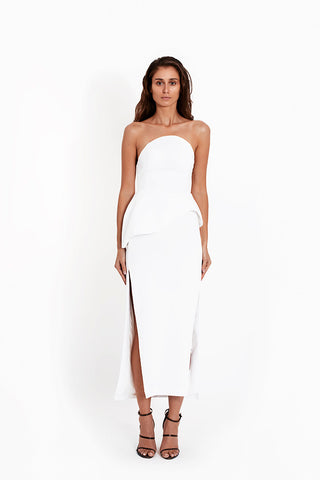 Crepe Strapless Sculptural Top