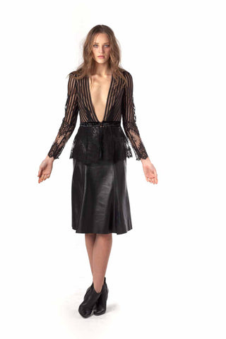 Soft Touch Leather Fluted Skirt
