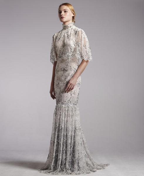 Ombre Beaded French Lace Gown