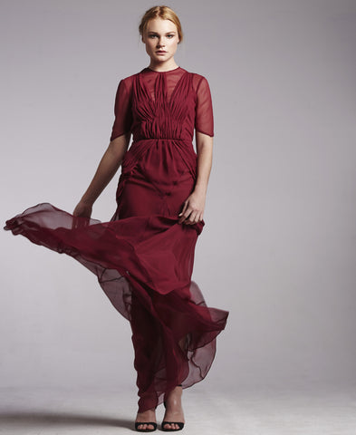 Silk Georgette Pleat Gown