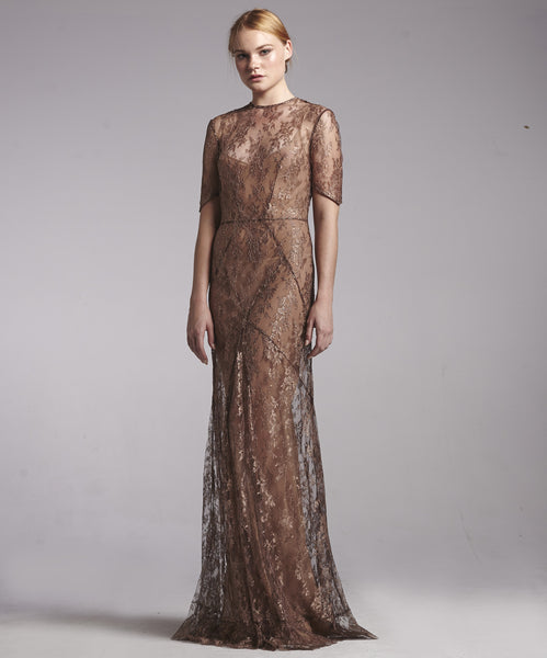 Metallic French Lace Gown