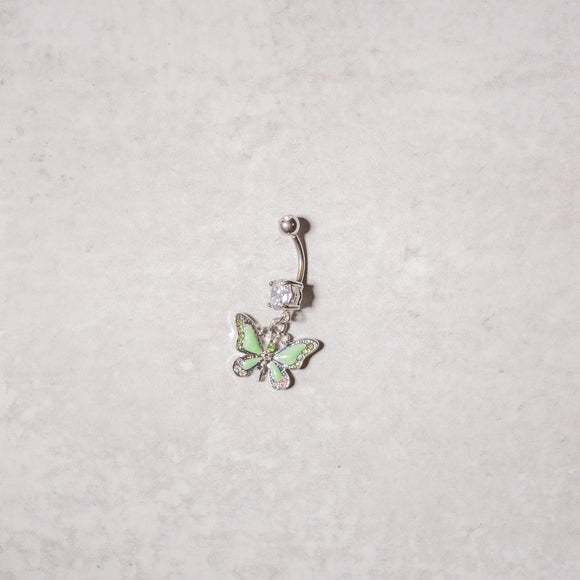 Spring Green Butterfly Navel Ring