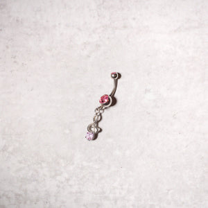 Pink Gems Treble Clef Navel Ring