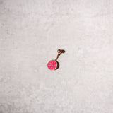 Rose Gold Tone Circle Druzy Stones Navel Rings
