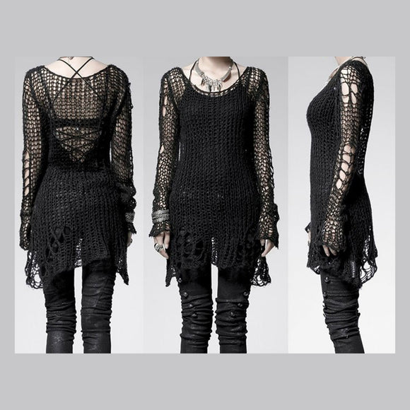 Black Ruin Sweater-Top by Punk Rave