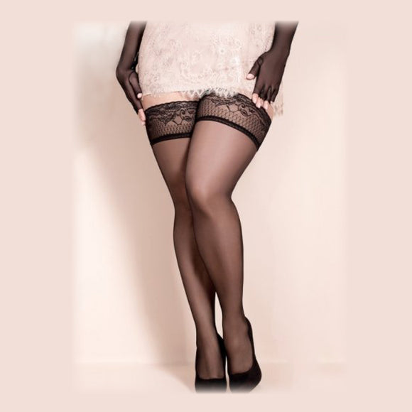Lacy Collared Black Stockings, Plus Size