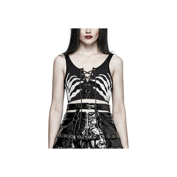 Dance Macabre Lace-Up Front Crop by Punk Rave