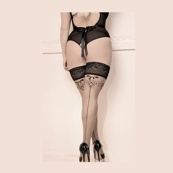 Melissa Seamed Hold Ups (stockings), Plus Size