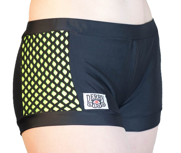 High Waist Lime Green Side Action Shorts by Derby Kiss